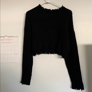 black distressed chunky knit crop sweater